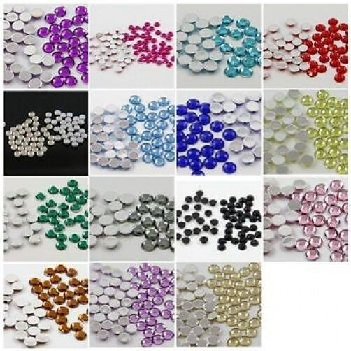 Glue on flat back round 15 colours rhinestones diamantes for Flat stones for crafts