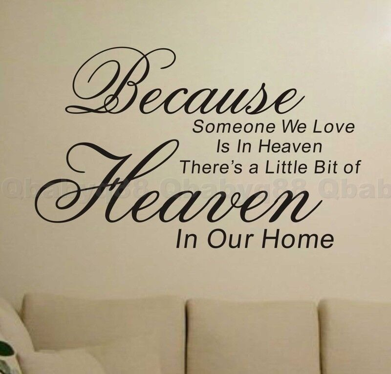 Because Love In Heaven Wall Quotes Decals Stickers Decor