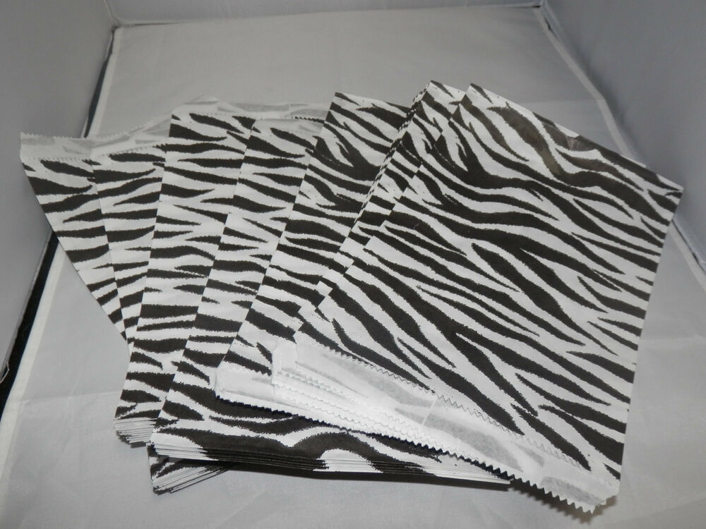 100 6x9 Zebra Animal Print Paper Merchandise Bags Black