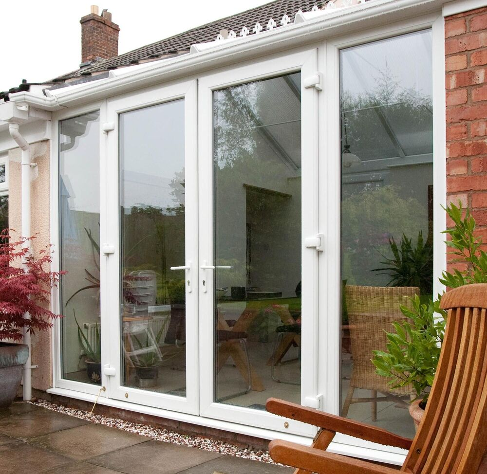 Upvc french doors white oak cream black grey patio for Black french doors exterior