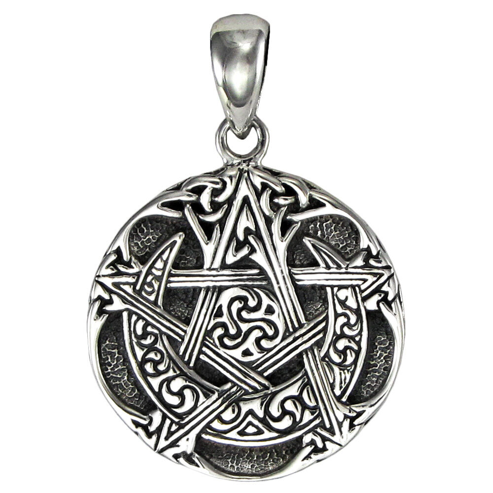 sterling silver small moon pentacle 3002 pendant dryad