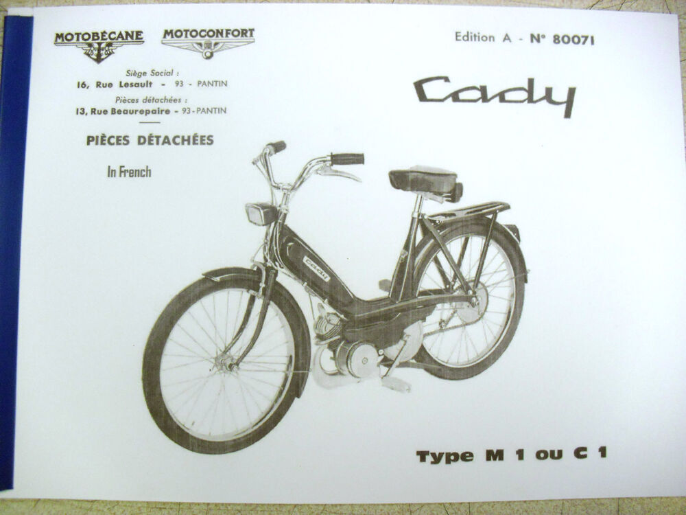 mobylette moped motobecane cady c1 m1 in french parts book with diagrams ebay. Black Bedroom Furniture Sets. Home Design Ideas