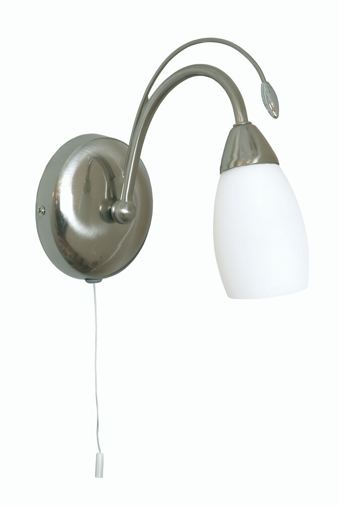 SATIN CHROME SINGLE WALL LIGHT WITH PULL CORD SWITCH AND OPAL GLASS SHADE eBay