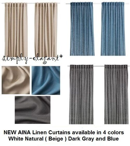 Ikea curtains 100 linen aina 1 pair drapes window panels for Linen curtains ikea