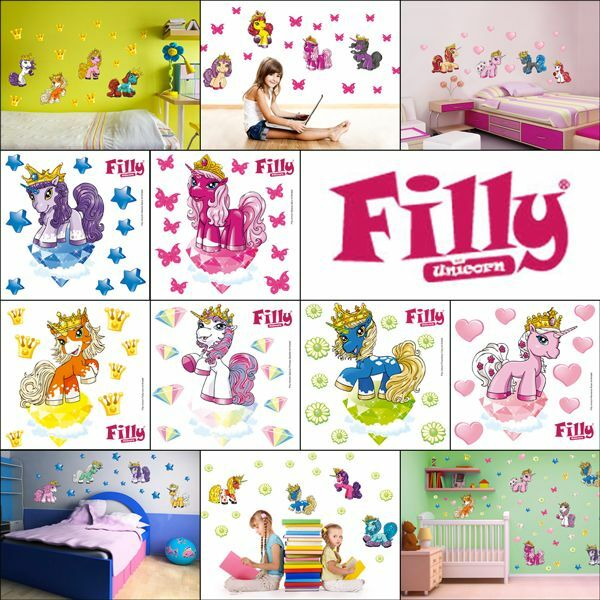 filly pferdchen einh rner wandtattoo kinderzimmer m dchen geschenk unicorn ebay. Black Bedroom Furniture Sets. Home Design Ideas