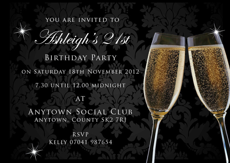 Birthday Invitations 18th 21st 30th Black Champagne With