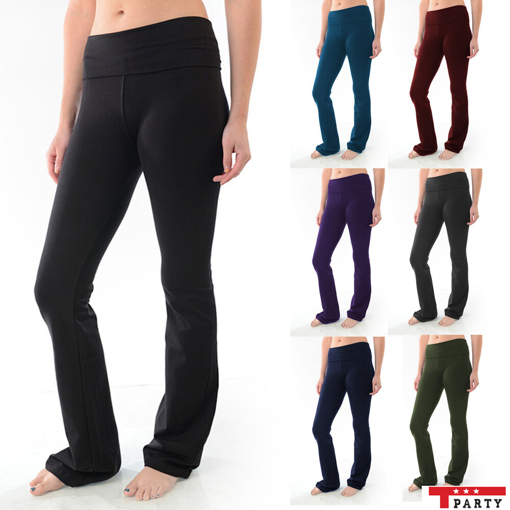 a0829a5c5a4af Details about T-Party YOGA Pants Foldover Flare Leg Long Womens Fitness  Workout CLEARANCE