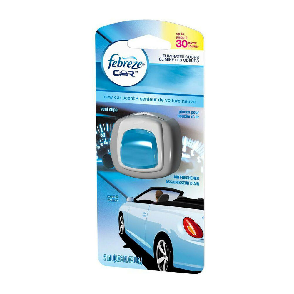 febreze car vent clips air freshener and odor eliminator new car scent ebay. Black Bedroom Furniture Sets. Home Design Ideas
