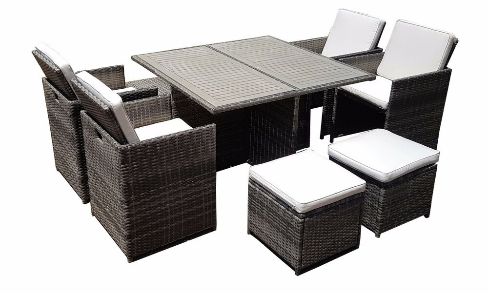Rattan wicker conservatory outdoor garden furniture patio cube table chair set ebay - Garden furniture table and chairs ...