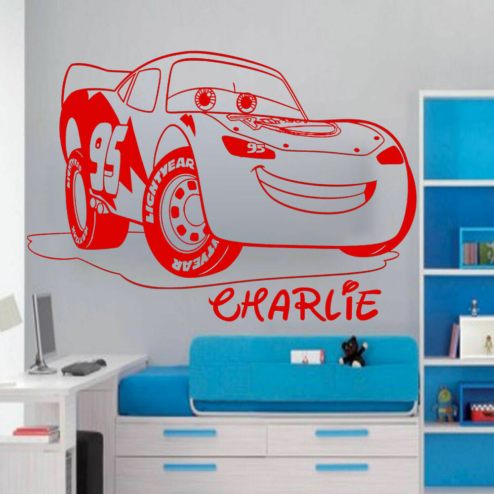 Disney mcqueen lightning car personalised wall sticker art for Cars wall mural sticker