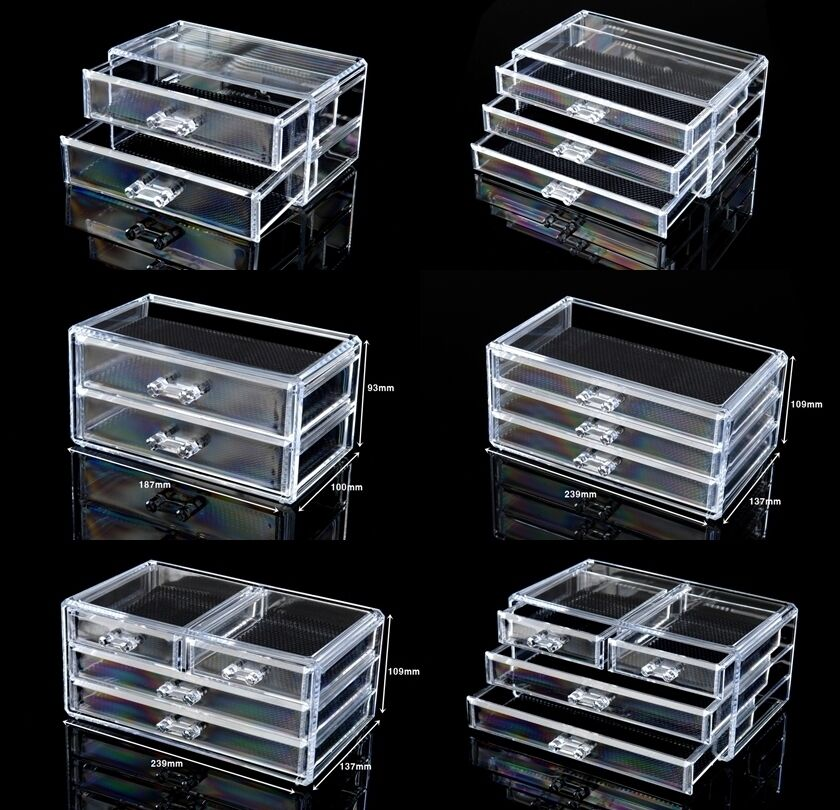 Cosmetic Organizer Acrylic Makeup Case Drawers Box Jewelry