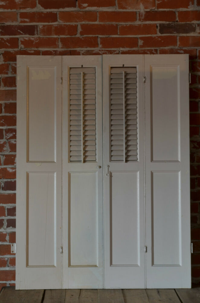 Vintage Antique Window Treatment Wooden Louver Interior Shutters Ebay
