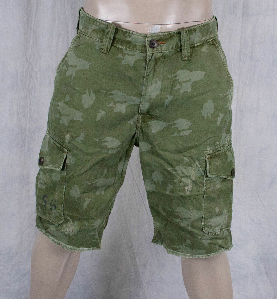 True Religion Jeans brand PLATOON cut off camo shorts trooper green MNNV17X94 | eBay