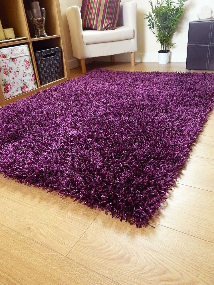 New Small Large Silky Dark Purple Rugs Shaggy Round