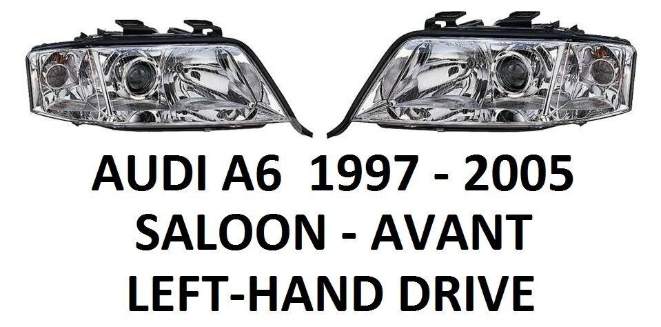 audi a6 c5 front headlamps head lamp headlight h1 h7 pair