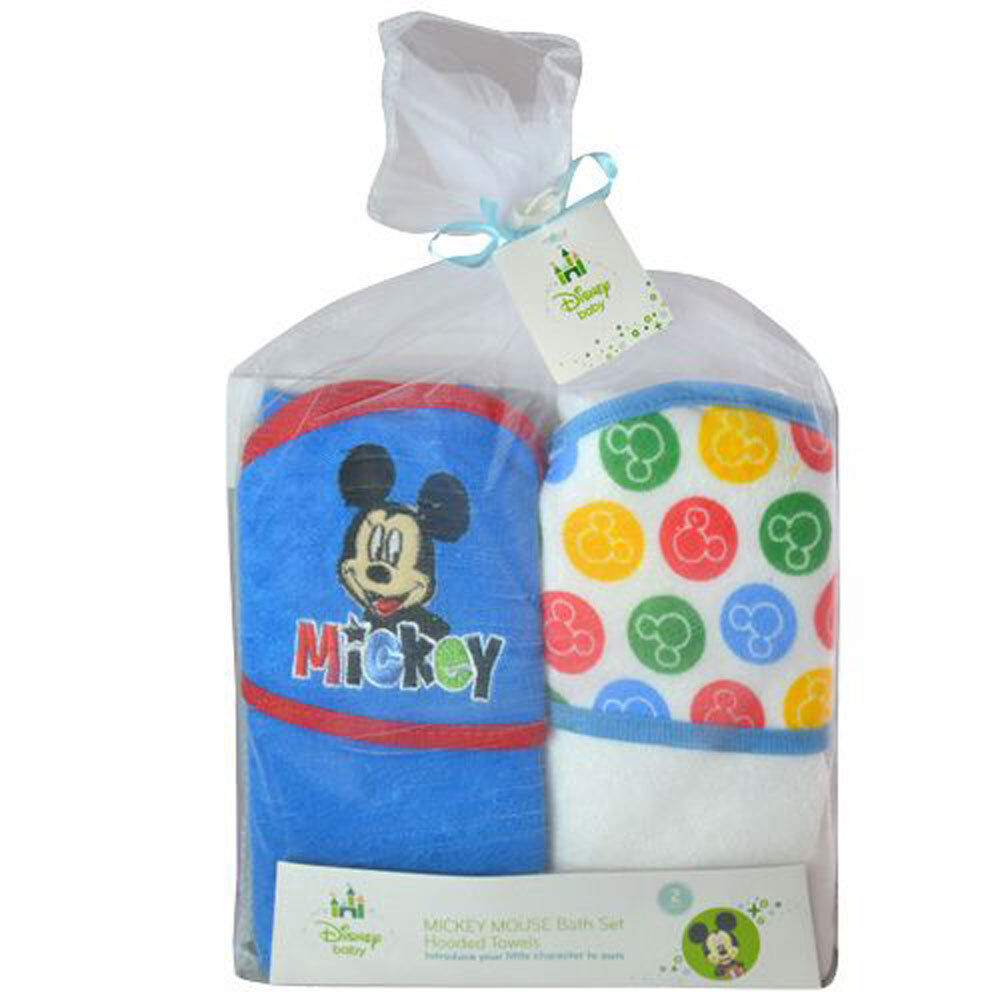 2 Disney Baby Mickey Mouse Terry Hooded Towels Gift Set