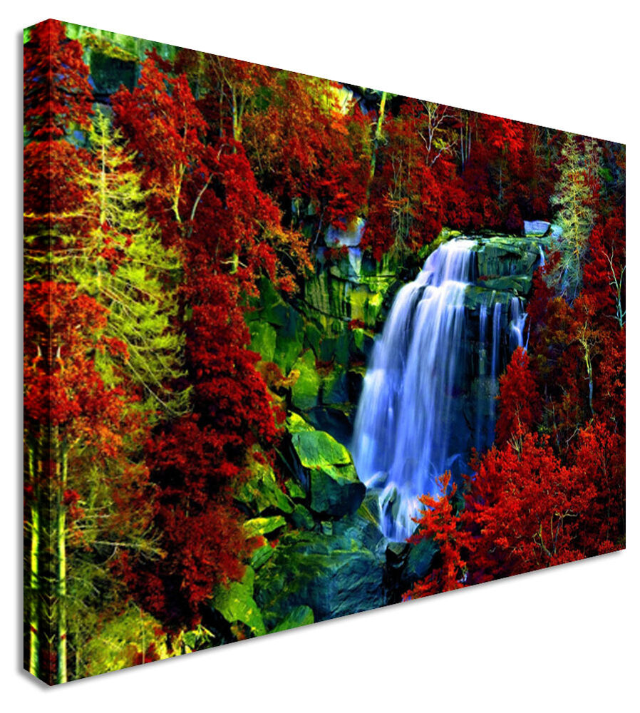 Large picture waterfall red leaf forest canvas art cheap for Print posters online cheap