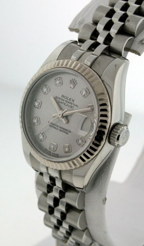 rolex oyster perpetual datejust with diamond dial 9 ladies watch ebay. Black Bedroom Furniture Sets. Home Design Ideas