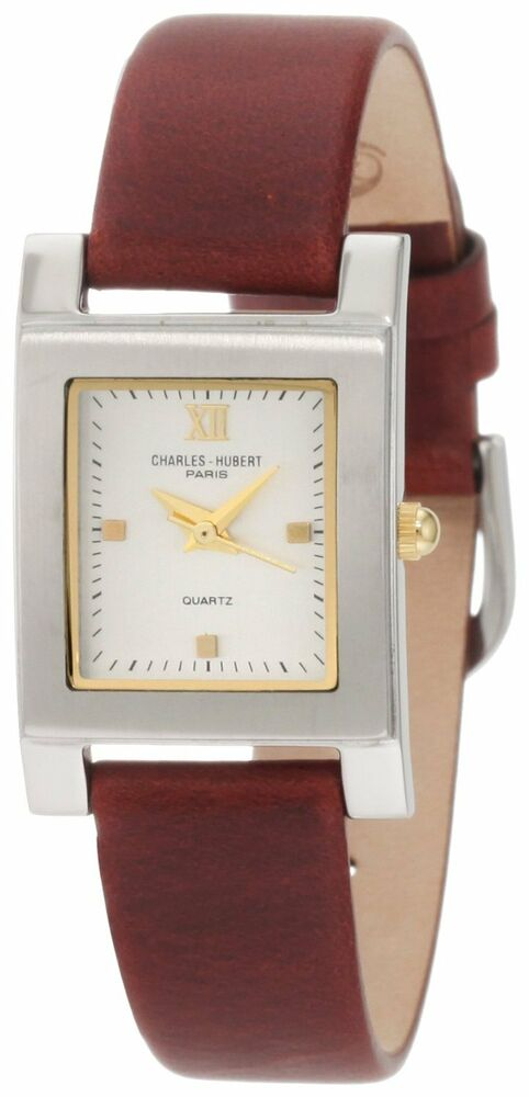 charles hubert womens brown leather quartz square