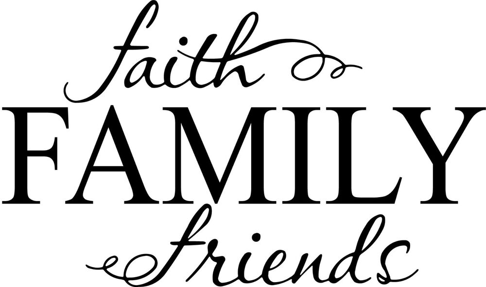 Family Friends Wall Decor : Faith family friends cute vinyl wall decal quote sticker