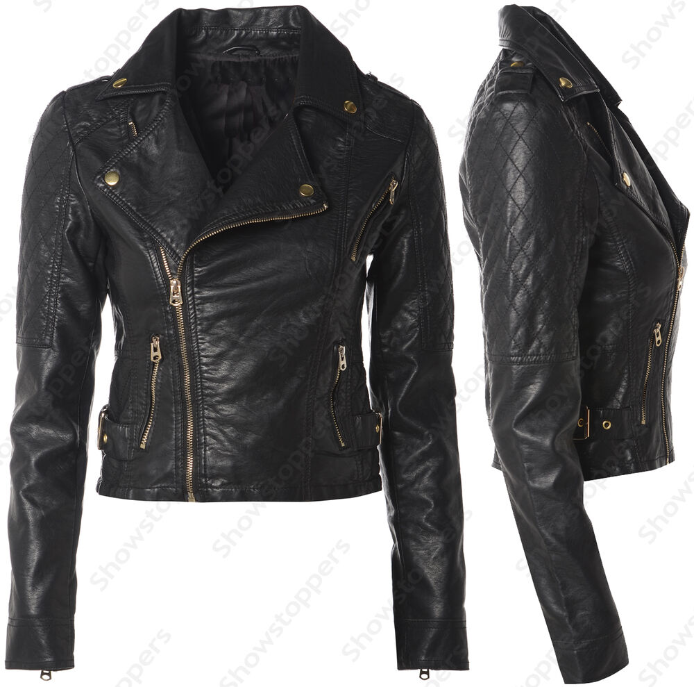 Size 8 10 12 14 16 NEW Womens BIKER JACKET FAUX LEATHER ...