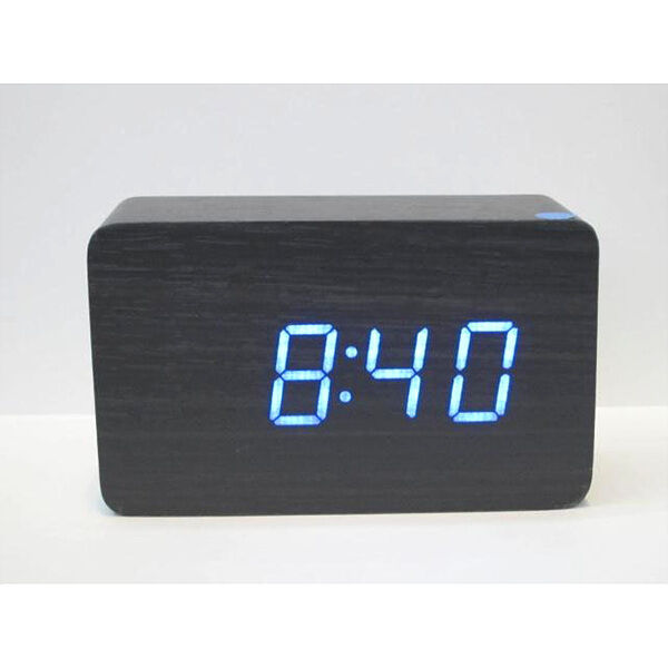 fashion wooden wood usb battery powered digital led alarm clock thermometer ebay. Black Bedroom Furniture Sets. Home Design Ideas