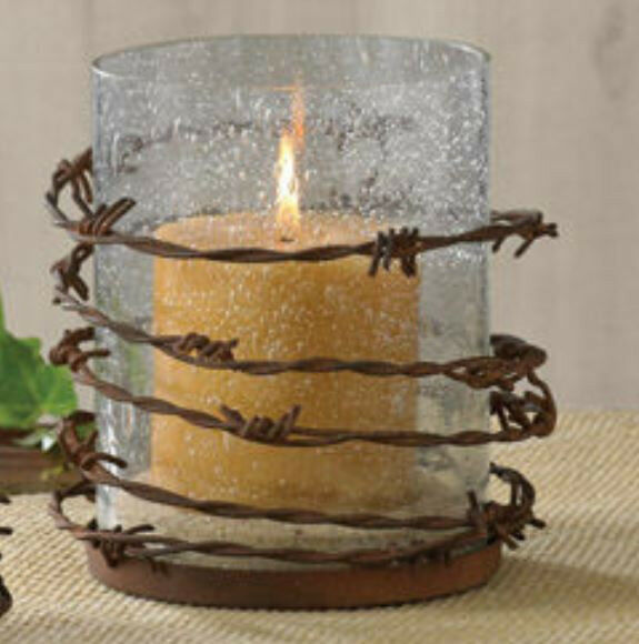 Wire And Glass Wall Art Home Decor ~ Western barbed wire rustic pillar glass candle holder