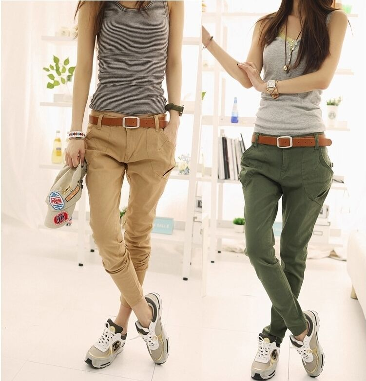 New Womens Korea Fashion Big Pocket Baggy Slim Pants 2 Colors NO ...