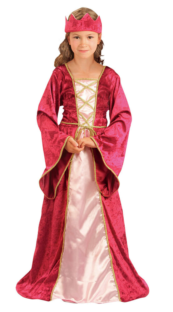Medieval Tudor Girl Renaissance Princess Queen Costume Gown Outfit New 4-6-8-10 | eBay