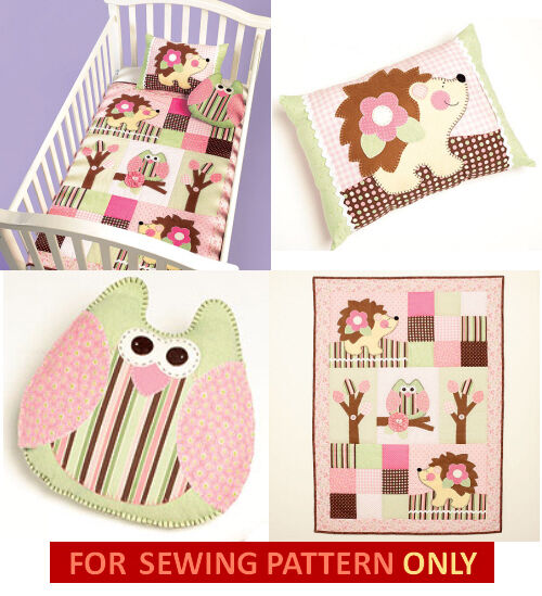 SEWING PATTERN! MAKE BABY~INFANT QUILT~PILLOWS! OWL~HEDGEHOG ...