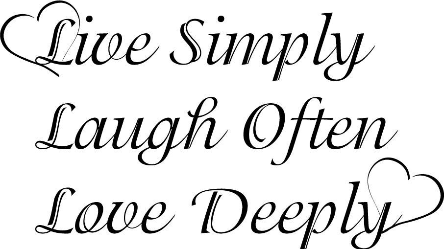 Live Simply Laugh Love Deeply Decor Vinyl Wall Decal Quote