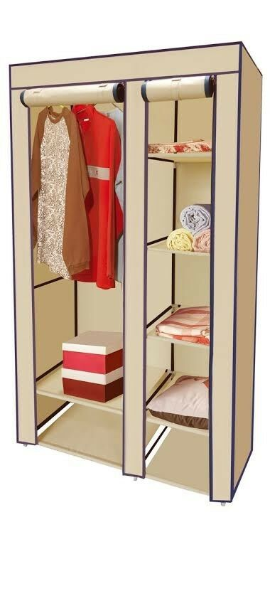 Portable closet storage organizer wardrobe clothes rack for Extra closet storage
