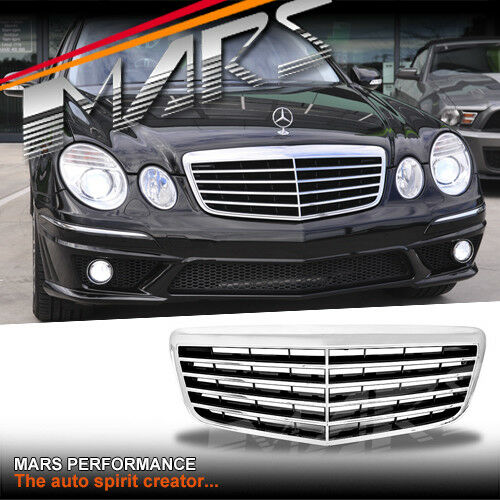 Chrome black e63 style front bar grille grill for mercedes for Mercedes benz grills