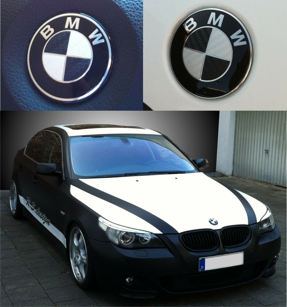 bmw carbon emblem carbon ecken set wei und schwarz lenkrad haube etc ebay. Black Bedroom Furniture Sets. Home Design Ideas