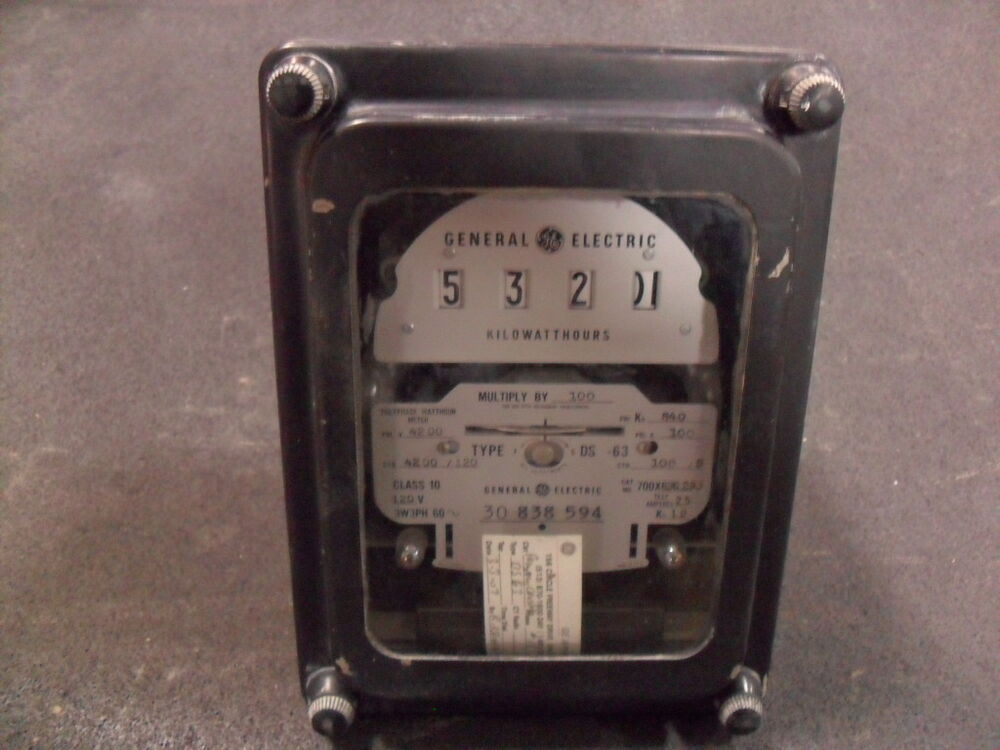 Ge Watthour Meter : Used general electric g polyphase watthour meter