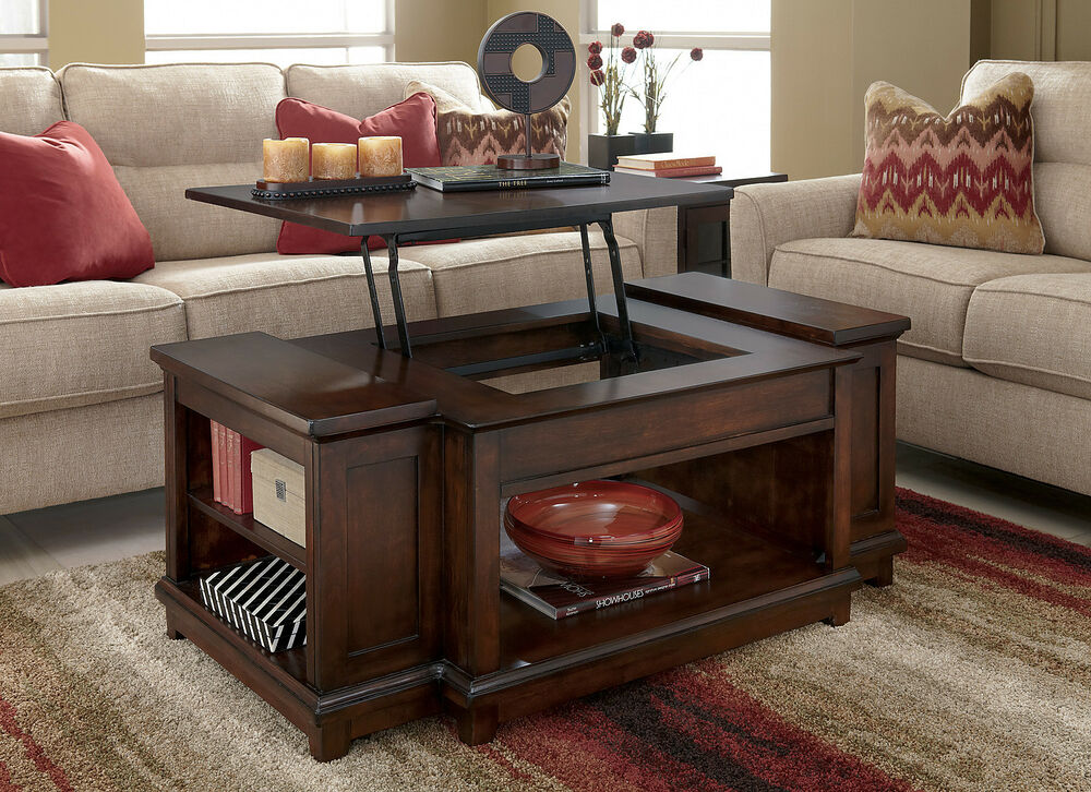 Rustic dark brown traditional rectangular lift top for Rustic dark brown coffee table