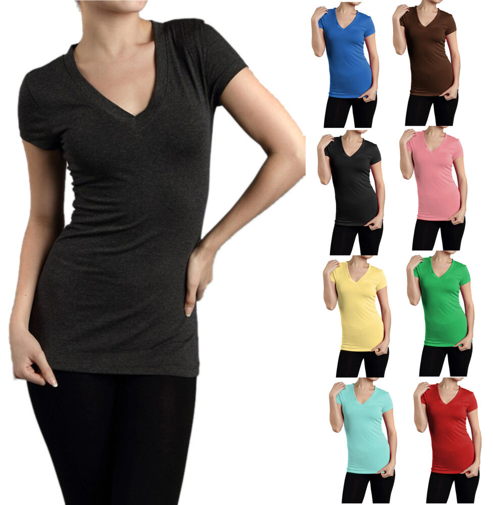 Short Sleeve V Neck Basic Plain Solid T Shirt Womentop