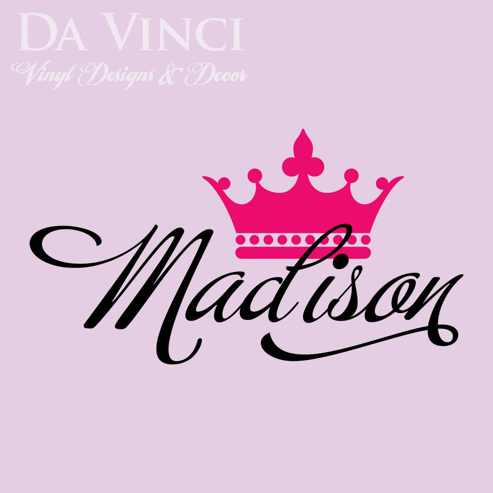 Princess Vinyl Decal Wall Sticker Words Lettering Nursery: Personalized Girl Name Crown Princess Vinyl Wall Decal