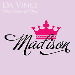 Personalized Girl Name Crown Princess Vinyl Wall Decal Decoration