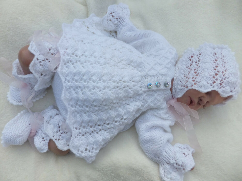 KNITTING PATTERN TO MAKE C*L*O*V*E*R 4 PIECE MATINEE SET FOR BABY OR REBORN D...