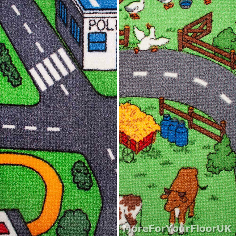 Road map carpet 4m wide childrens play room flooring for Cheap carpets and rugs