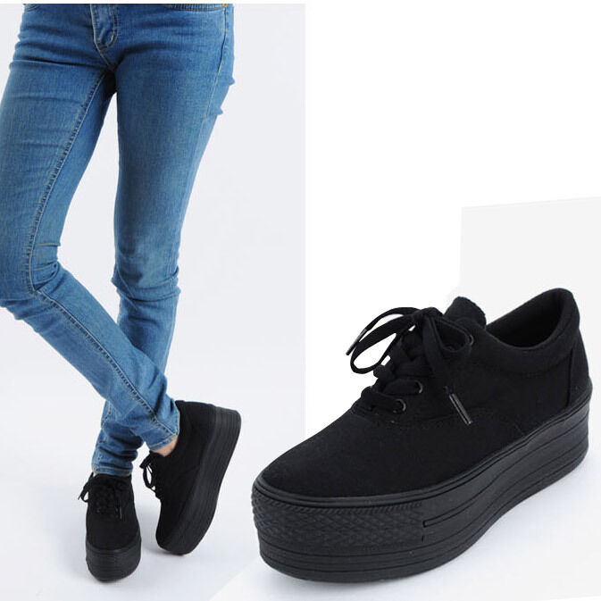 new womens fashion low top canvas light platform sneakers