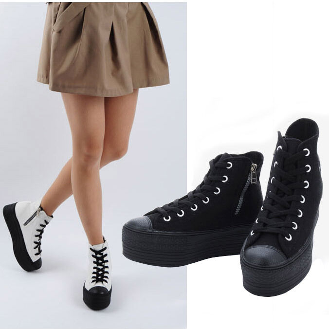 Black Fashion Sneakers For Women New Womens High Top Canvas