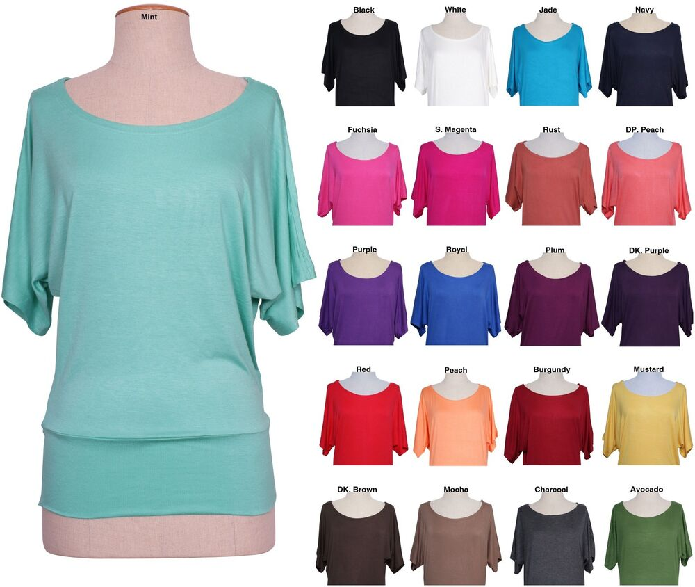 Women solid colored jersey boat neck dolman batwing sleeve for Types of womens shirts