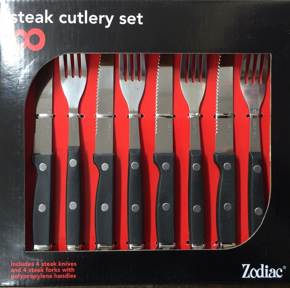 8pk steak knives and fork set steak knife stainless steel cutlery ebay - Knives and forks sets ...