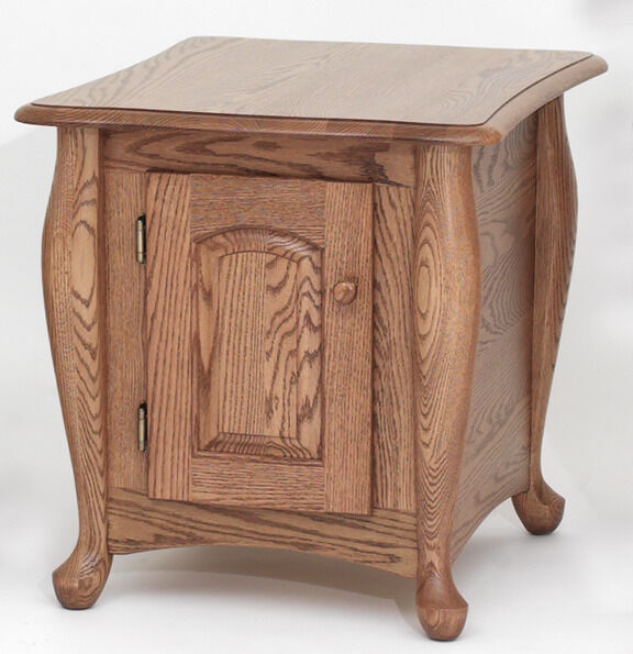Solid Wood Coffee And End Tables For Sale: #1131 Solid Oak Queen Anne Storage End Table