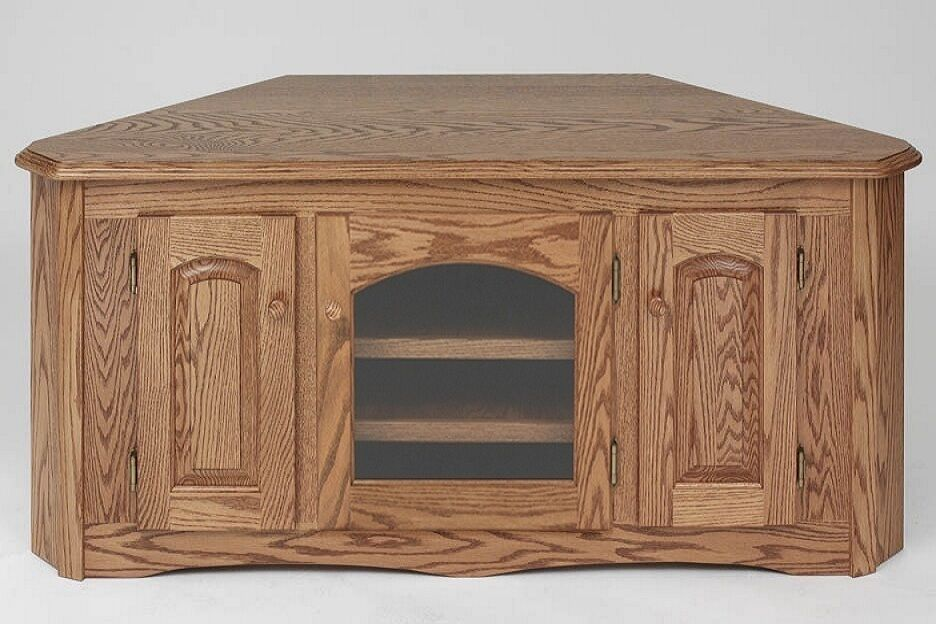 1898 Solid Wood Country Oak Corner Tv Stand Ebay