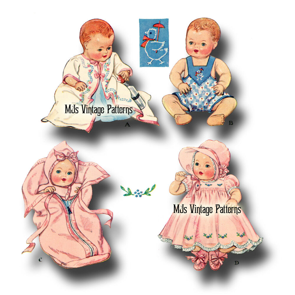 """Doll Clothes Vtg 30s Pattern Dress Romper ~ 11"""" Dy Dee, Tiny Tears ..."""