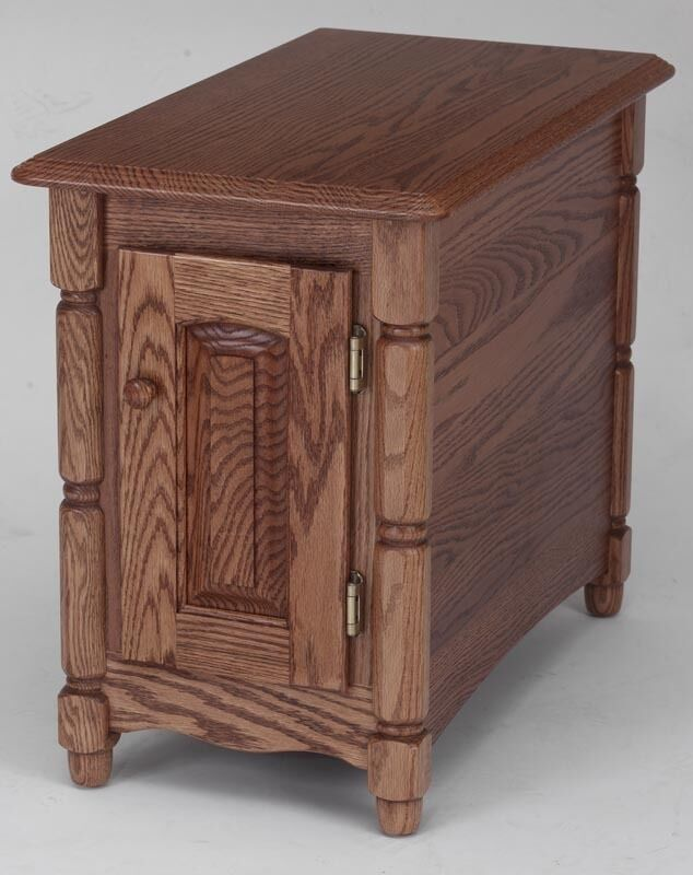Solid oak storage country end table ebay