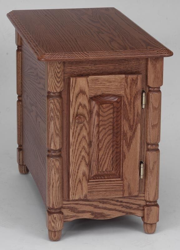 Oak Side Table: #811 Solid Oak Storage Country End Table